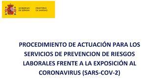 Actualización del Procedimiento de actuación para los Servicios de Prevención de Riesgos Laborales frente a la exposición al SARS‐CoV‐2